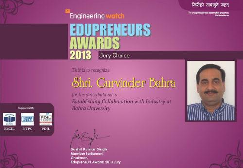 National Edupreneur Award 2013 for Bahra university