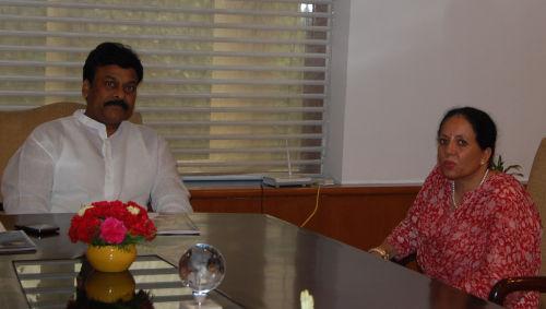 pratibha singh with Chiranjeevi