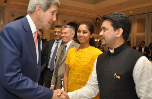 Anurag Thakur with US Secretary of State John Kerry at New Delhi